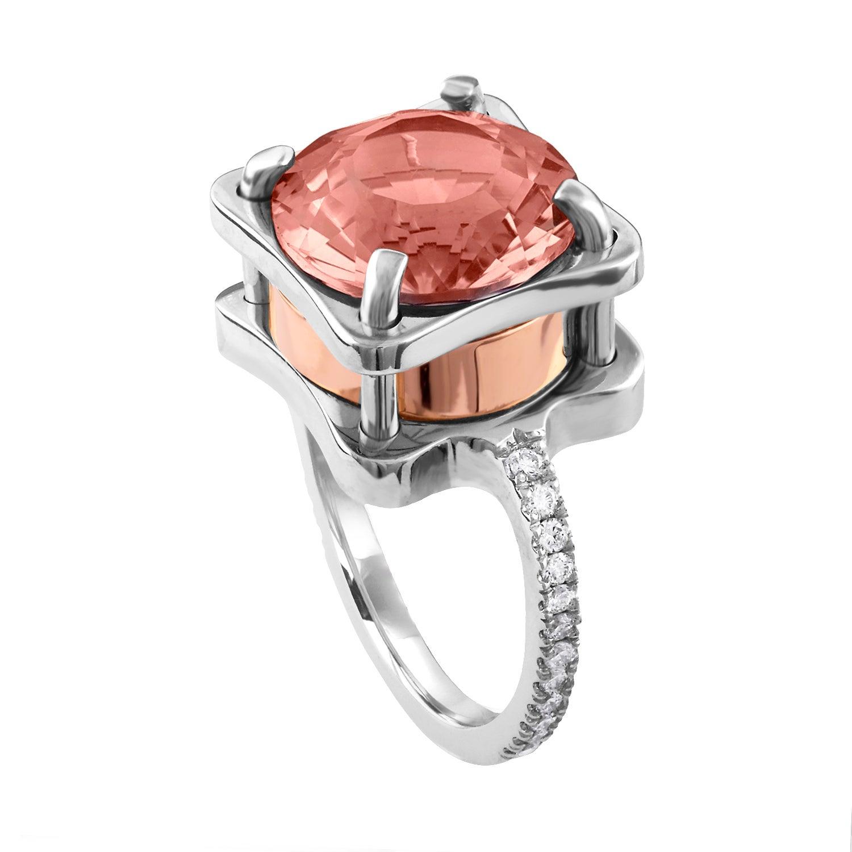 5.00 Carat Ametrine and Diamond Gold Abstract Ring