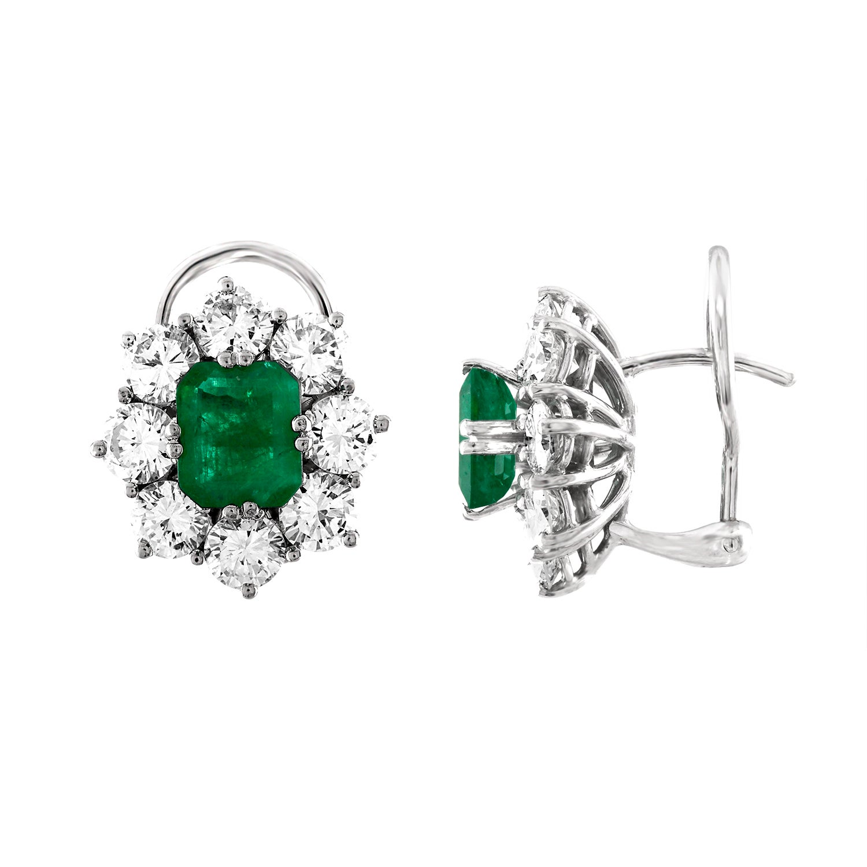 0.50 Carat Green Emerald Hoop Earrings White Gold