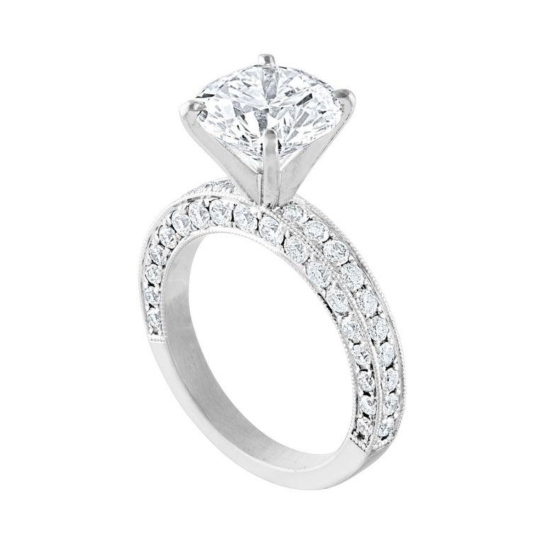 GIA Certified 3.50 Carat G VS2 Diamond Milgrain Gold Engagement Ring