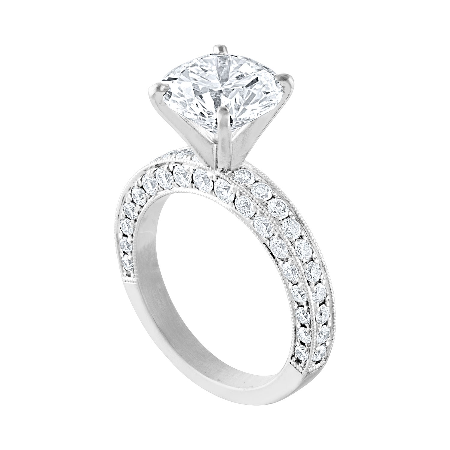 GIA Certified 3.50 Carat G VS2 Diamond Milgrain Gold Engagement Ring