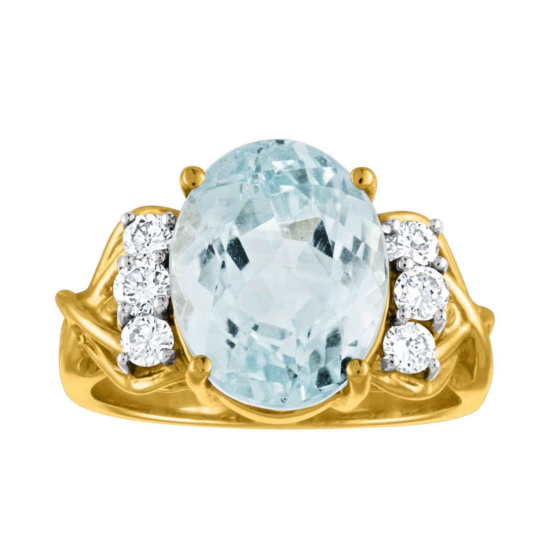 5.00 Carat Blue Topaz Diamond Gold Ring