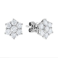 1.00 Carat Diamond Flower Gold Stud Earrings