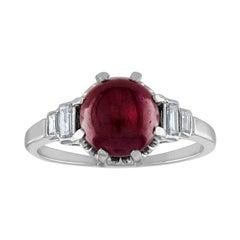 3.02 Carat Ruby Cabochon Diamond Platinum Ring