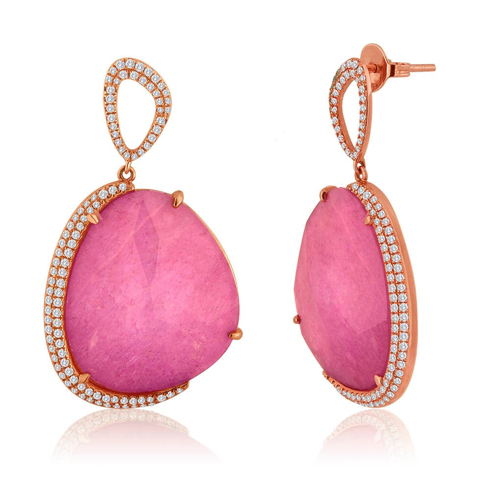 Triplet Pink Tourmaline MOP Rock Crystal Rose Gold Earrings 2