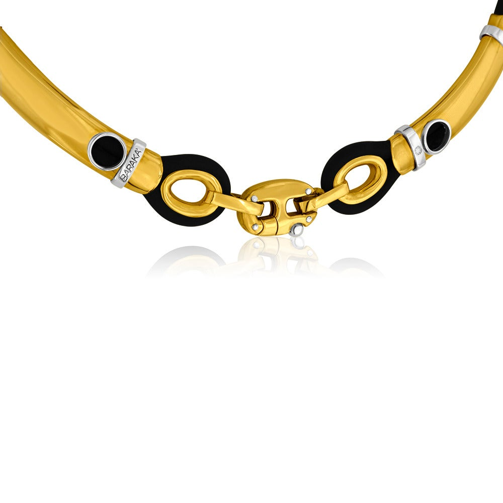 Baraka black rubber and 18k yellow gold unisex necklace for sale at