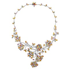45.00 Carats Multi-Color Sapphire And Diamond Gold Necklace
