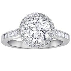 Tiffany & Co. 1.67 Carats F VVS2 Diamond Platinum Ring