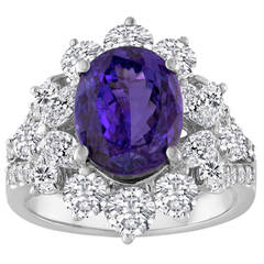 4.10 Carat Oval Cut Tanzanite and Diamond18K Gold Ring