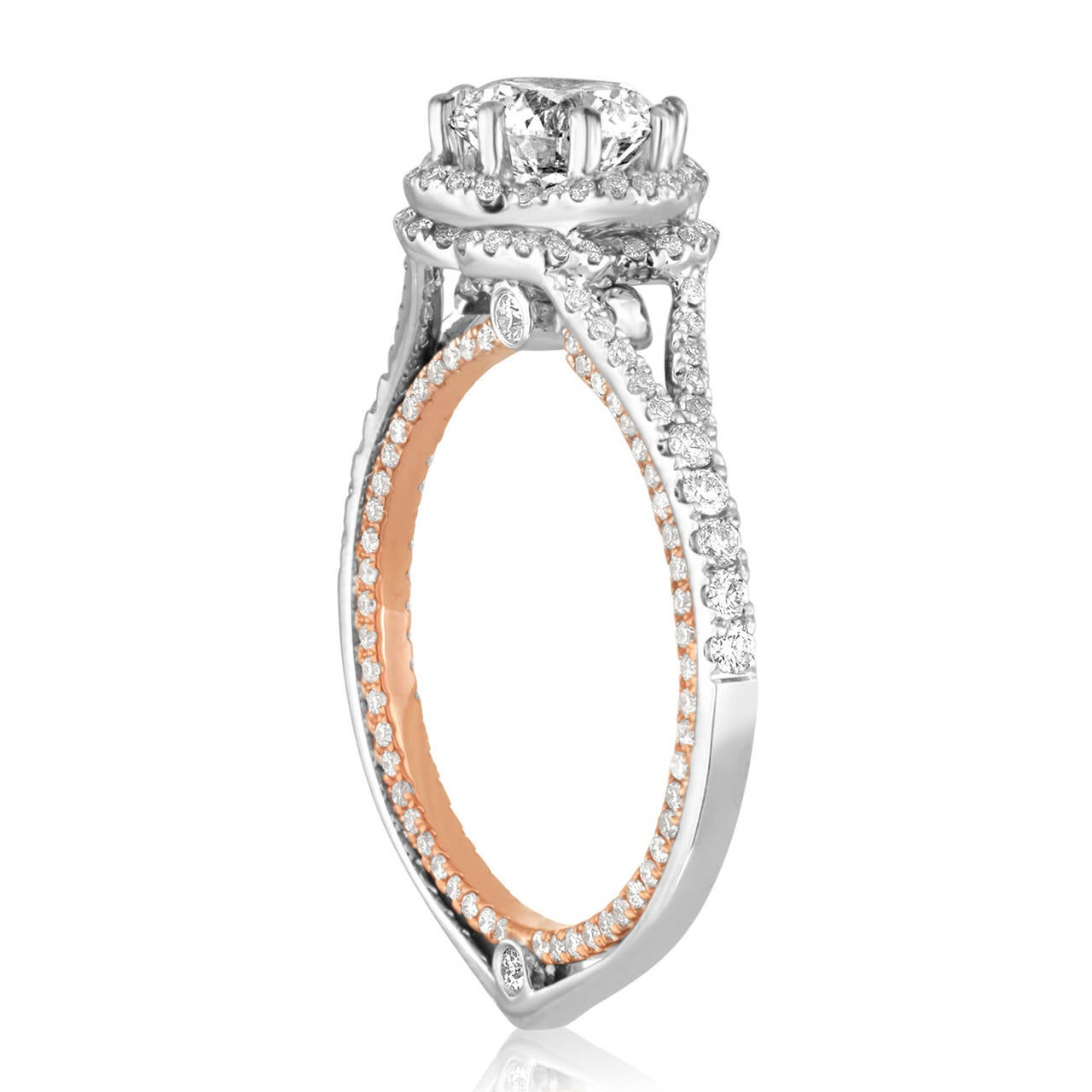 Contemporary GIA Certified 1.08 Carat F VVS1 Diamond Two-Tone Gold Engagement Ring For Sale