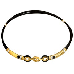 Baraka Black Rubber and 18 Karat Yellow Gold Unisex Necklace