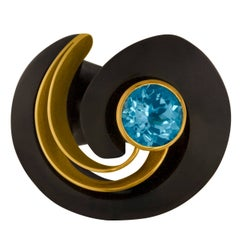 E.W. Schreiber KG 8.00 Carat Blue Topaz Ebony Wood Gold Ring