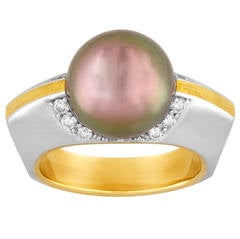 David Zoltan South Sea Pearl Diamond Gold Ring