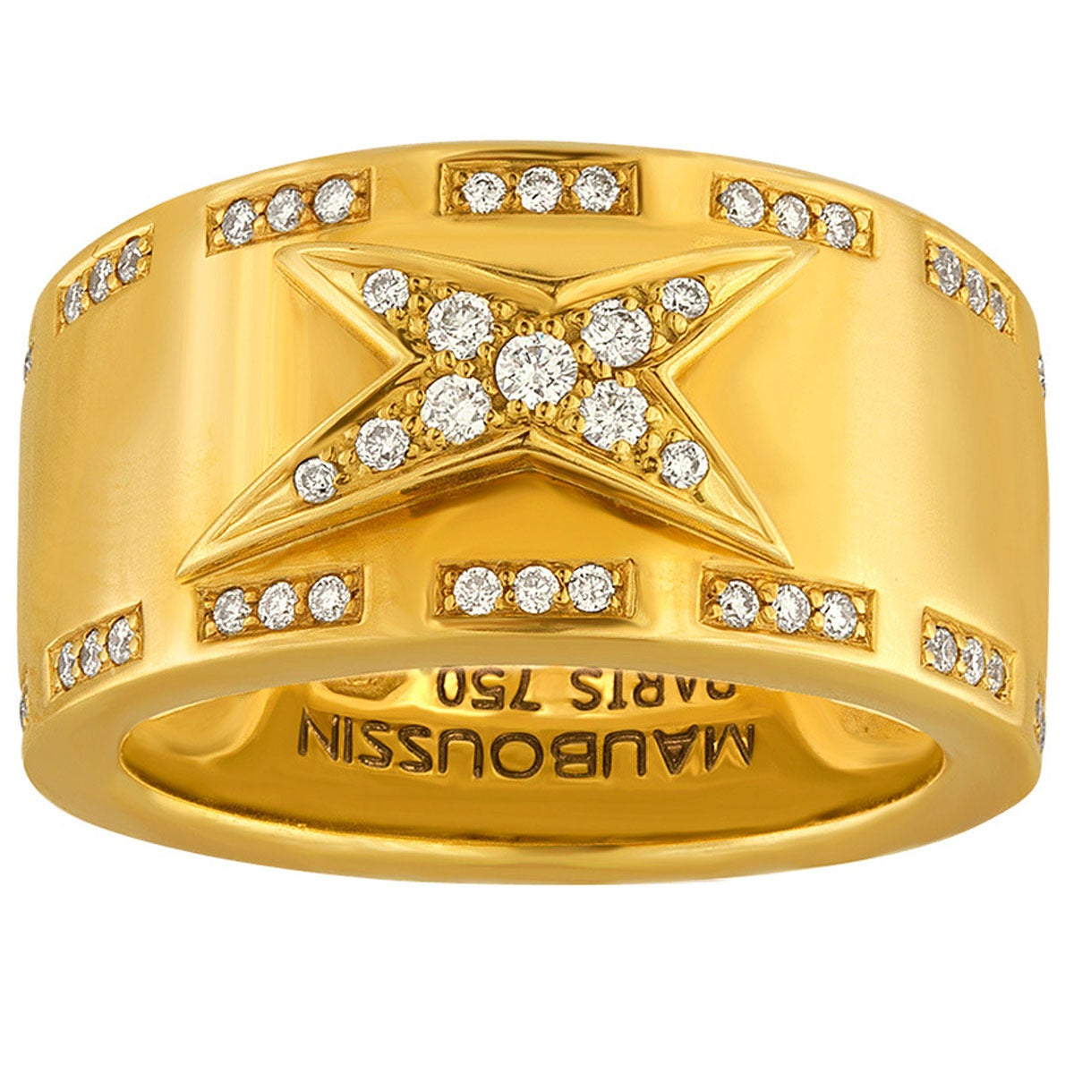 Mauboussin Etoile Divine Gold Band Ring Size 51