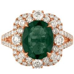 AGL Certified No Heat 4.88 Carat Brownish Green-Blue Sapphire Diamond Gold Ring