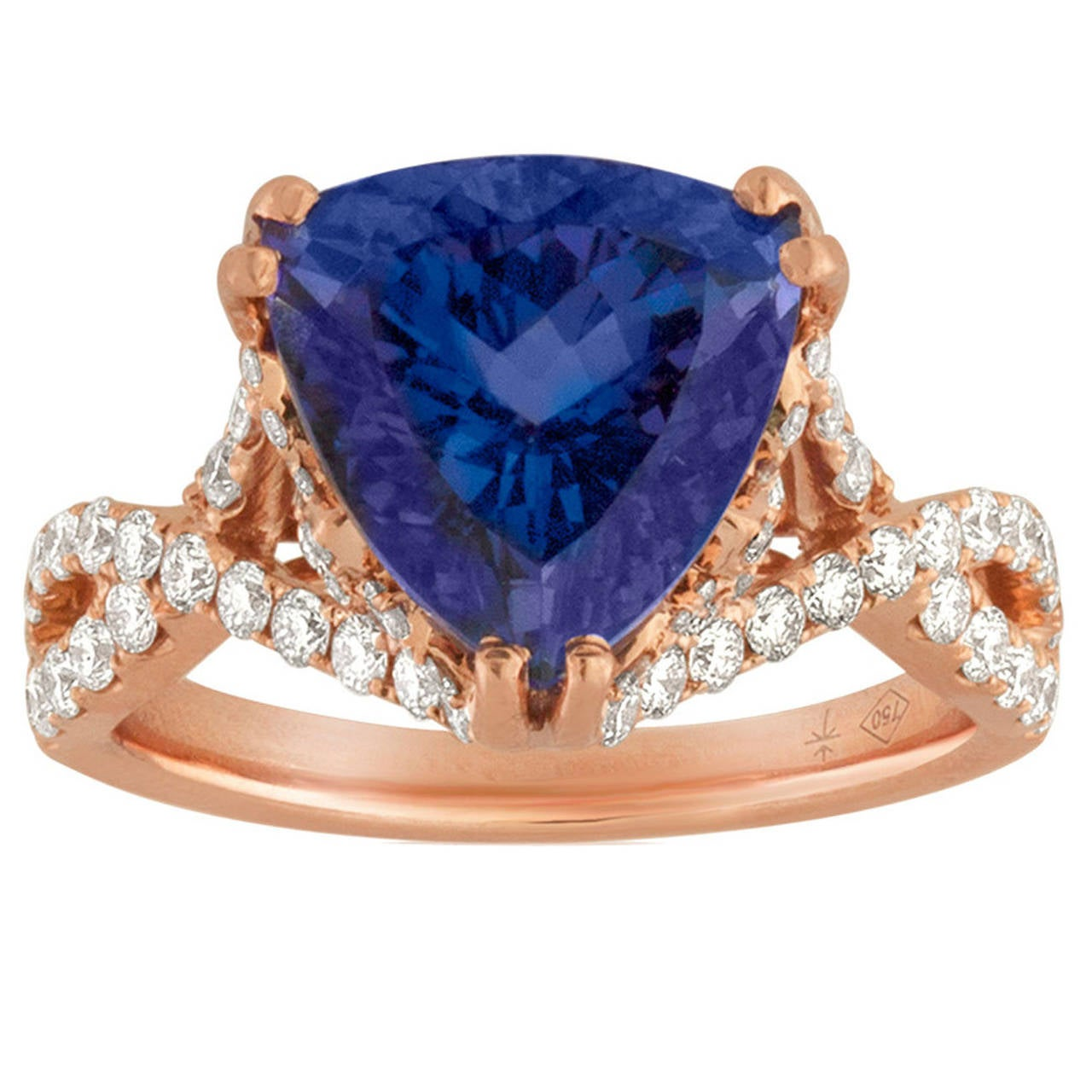 oval tanzanite diamond p white trillion gold ring aa ovaltrillion