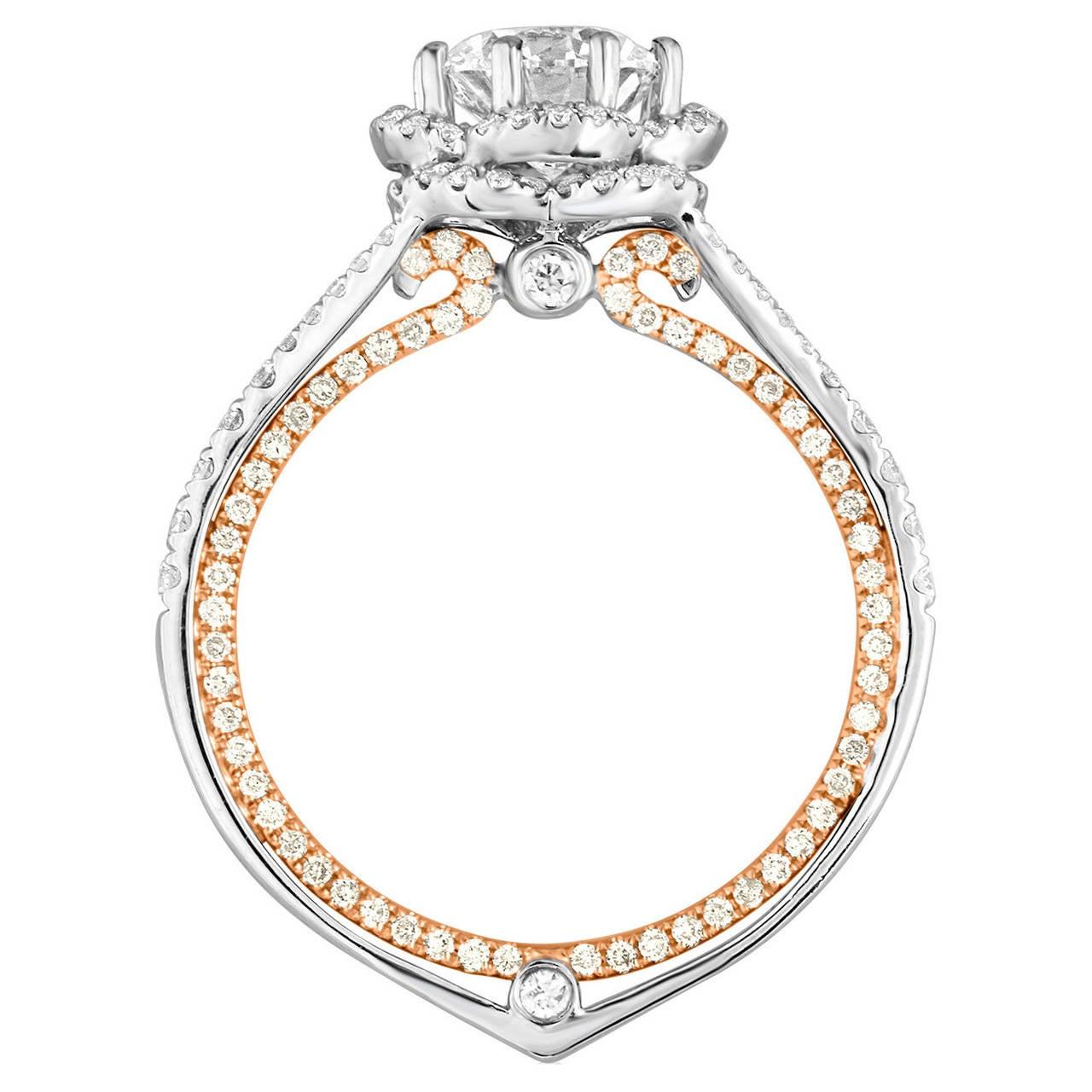 GIA Certified 1.08 Carat F VVS1 Diamond Two-Tone Gold Engagement Ring