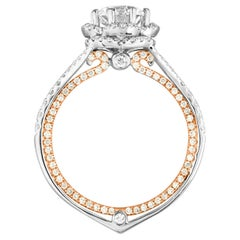 GIA Certified 1.08 Carat F VVS1 Diamond Two-Tone Gold Engagement Ring