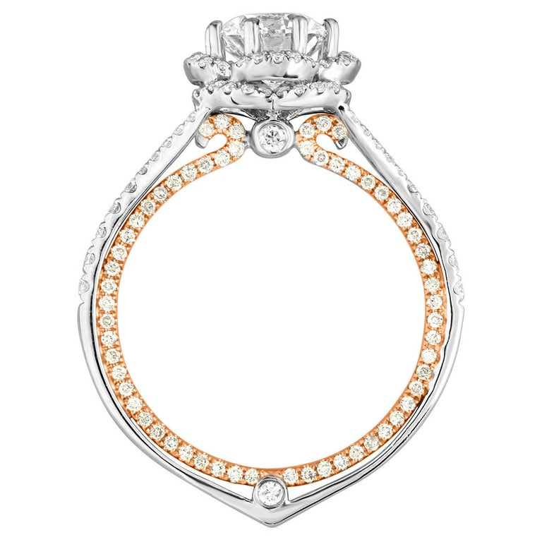 GIA Certified 1.08 Carat F VVS1 Diamond Two-Tone Gold Engagement Ring For Sale
