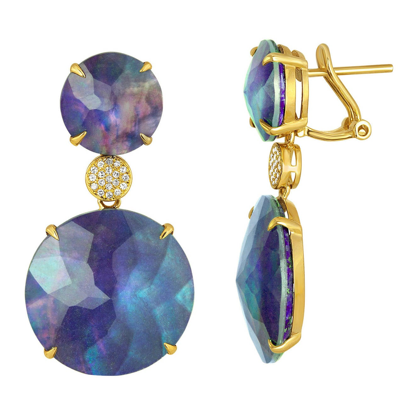 Triplet Rock Crystal MOP Lapis Diamond Gold Drop Earrings