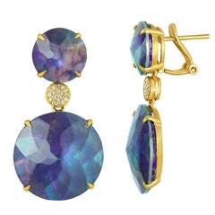 Triplet Rock Crystal MOP Lapis Diamond Gold Drop Earrings