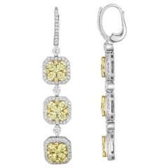 4.45 Carats Fancy Light Yellow Diamond Gold Three Tier Dangle Earrings