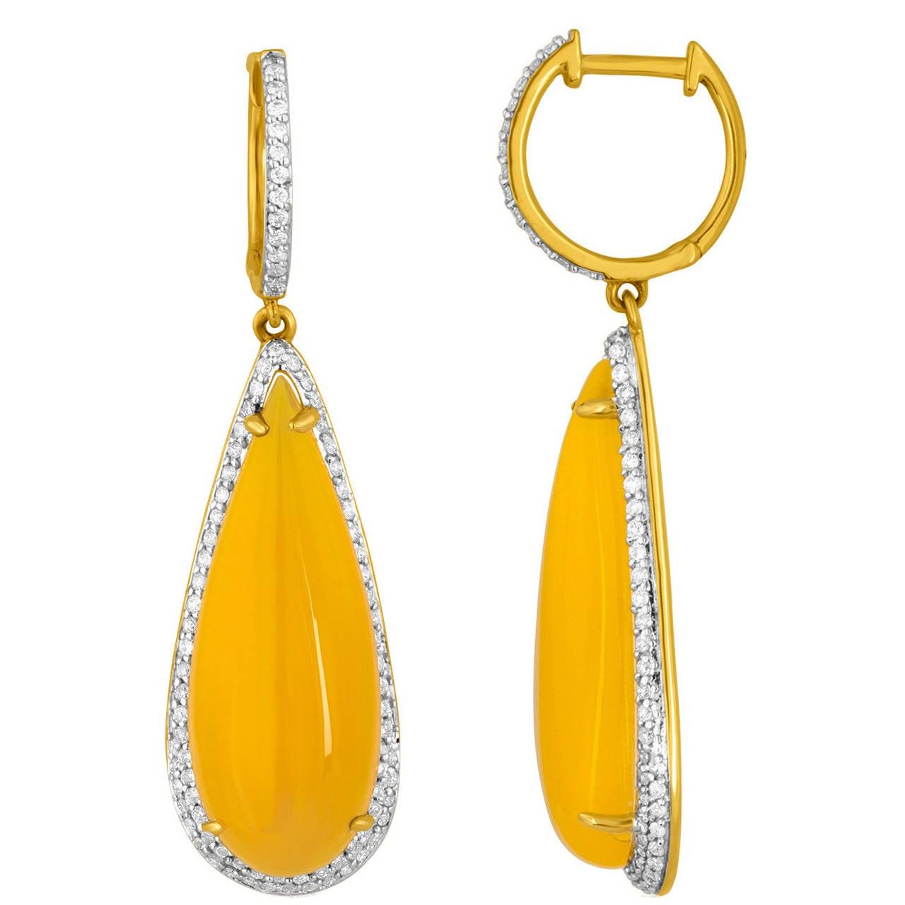 21.00 Carats Yellow Agate Diamond Gold Drop Earrings