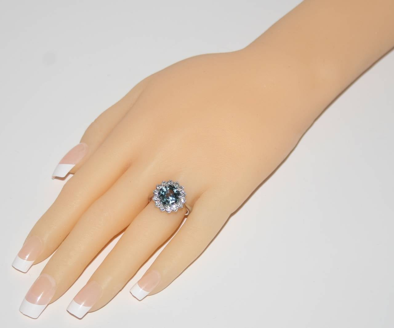 Contemporary Certified No Heat 5.03 Carat Grayish Blue Sapphire Diamond Ring For Sale