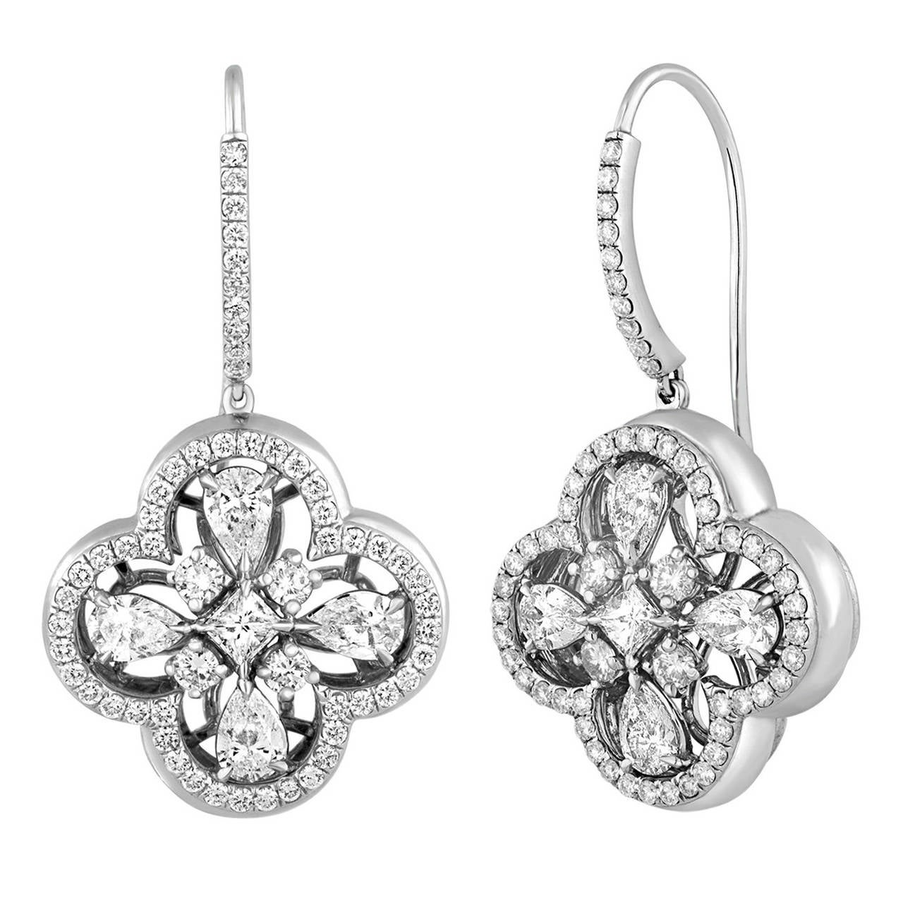 3.15 Carat Diamond Clover Gold Earrings