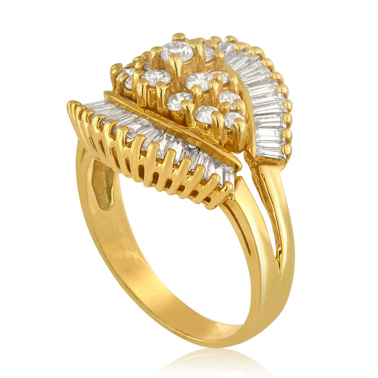 Beautiful 1990's Ballerina Ring. The ring is 14K Yellow Gold 1.50ct in Diamonds H VS The ring weighs 6.0 grams The ring is a size 7, sizable.