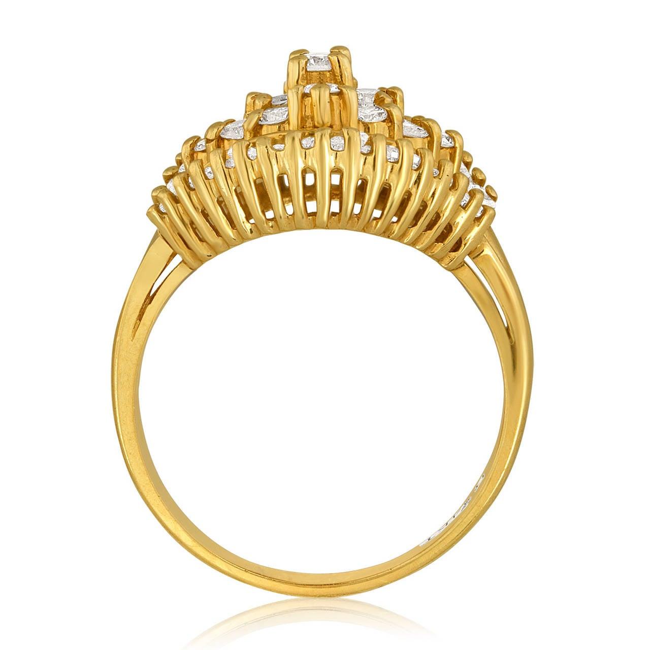 Retro 1990's 1.50 Carats Diamond Yellow Gold Ballerina Ring For Sale