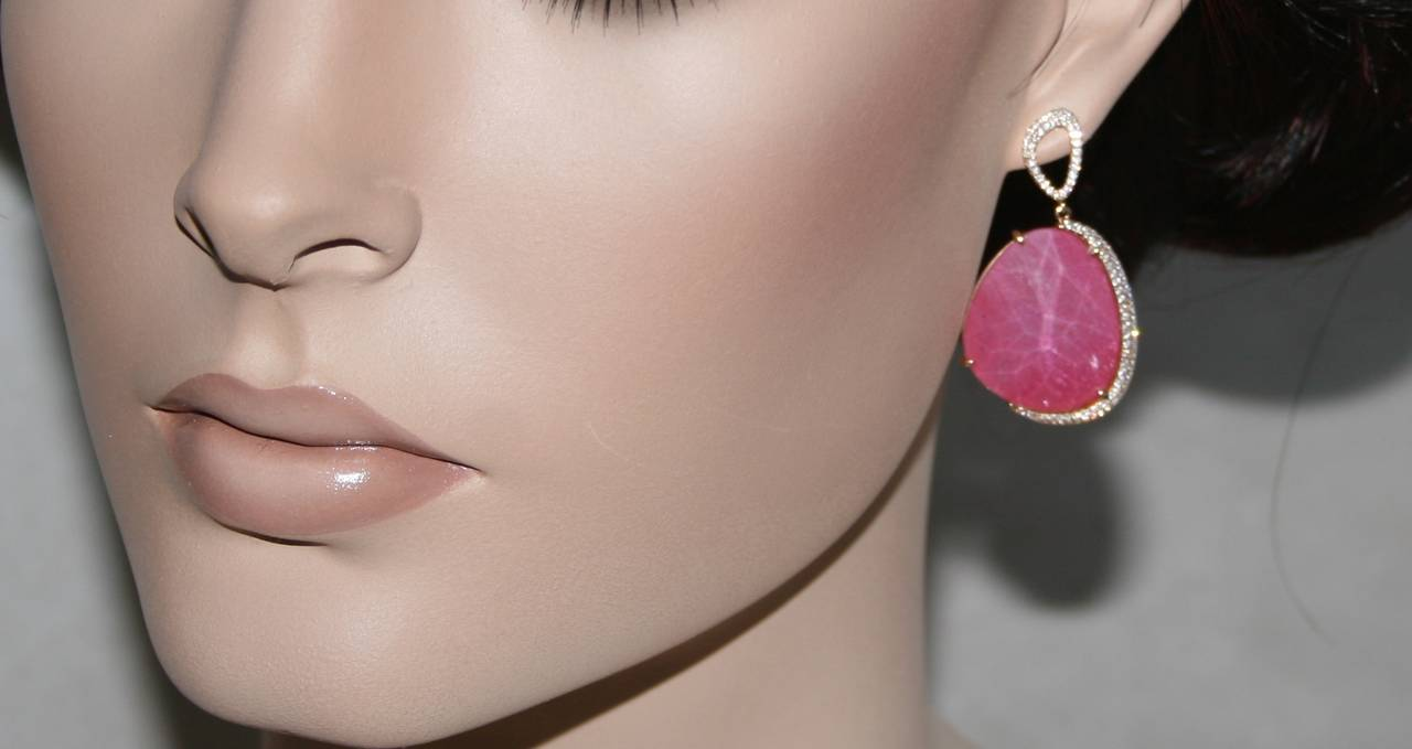 Contemporary Triplet Pink Tourmaline MOP Rock Crystal Rose Gold Earrings For Sale