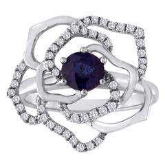 0.77 Carat Blue Sapphire Diamond White Gold Flower Ring