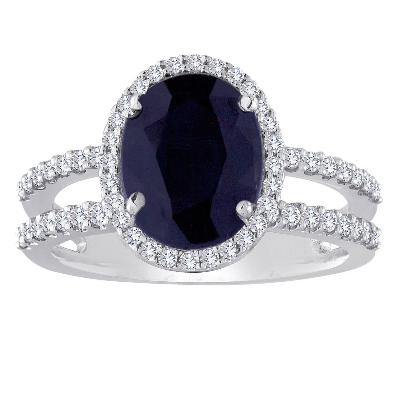 2 82 Carat Blue Sapphire Double Diamond 18K Gold Band Ring For