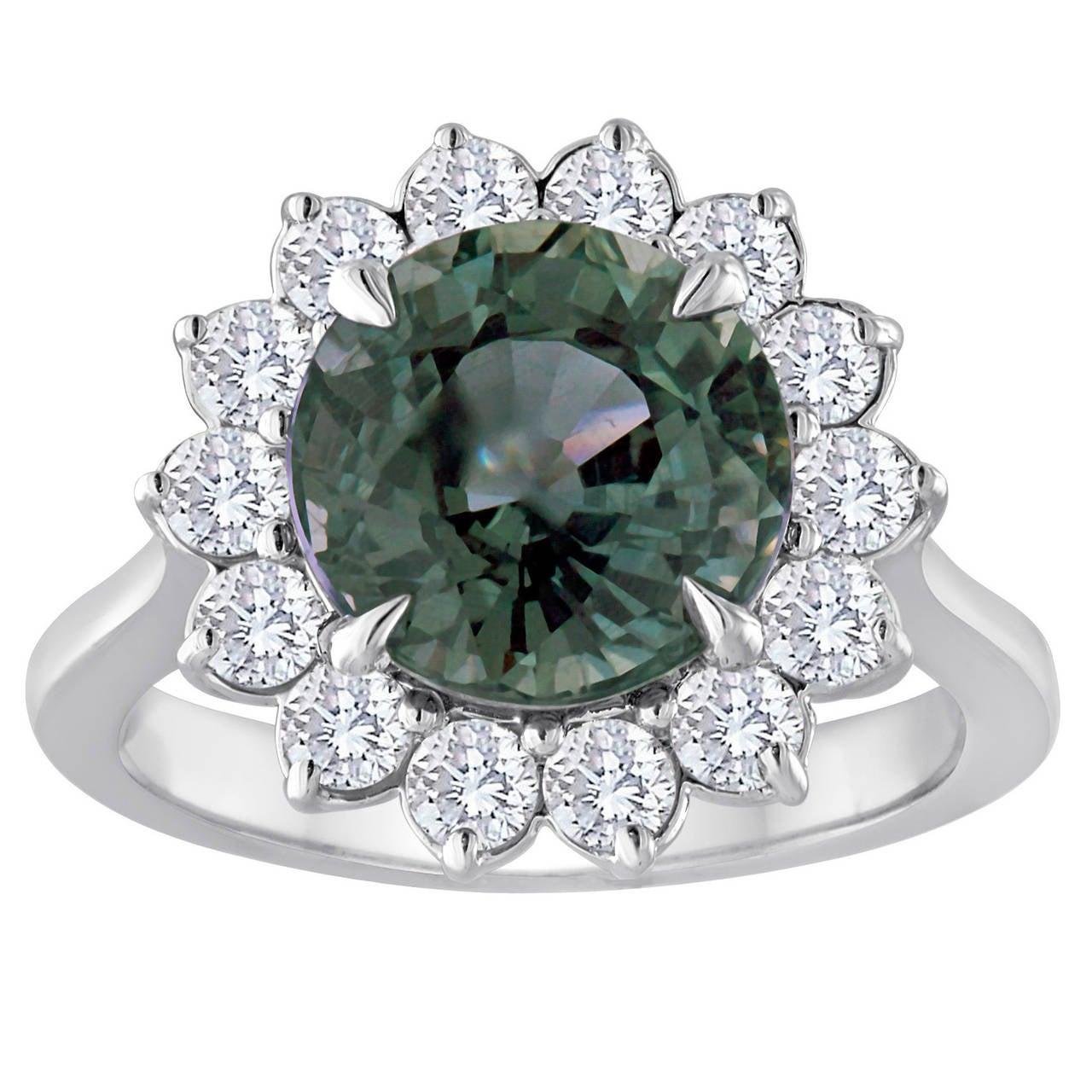 Certified No Heat 5.03 Carat Grayish Blue Sapphire Diamond Ring For Sale