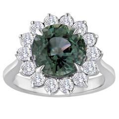 Certified No Heat 5.03 Carat Grayish Blue Sapphire Diamond Ring