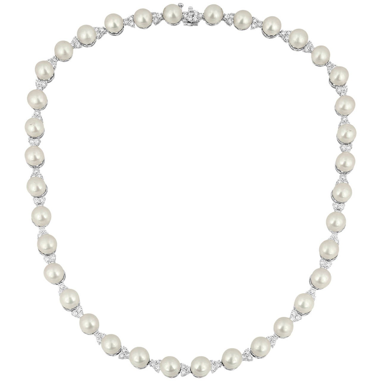5.00 Carats Diamond And Pearl White Gold Necklace
