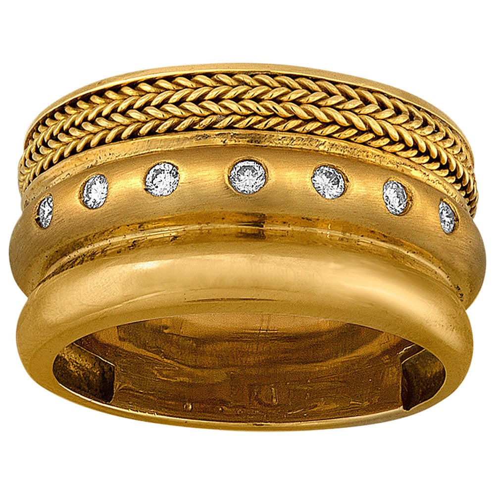 Baraka Wide Band Yellow 18K Gold Ring For Sale