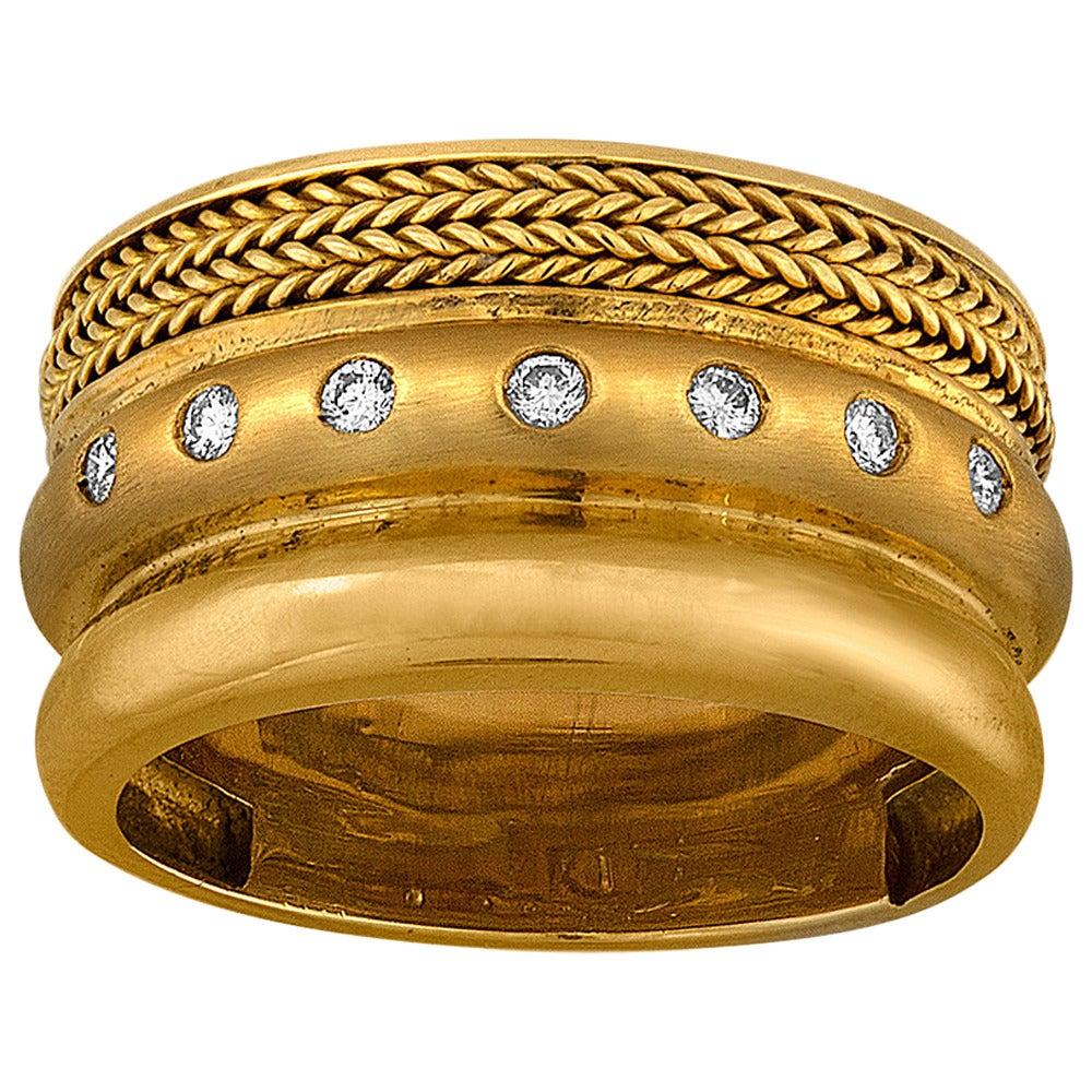 Baraka Wide Band Yellow 18K Gold Ring 1
