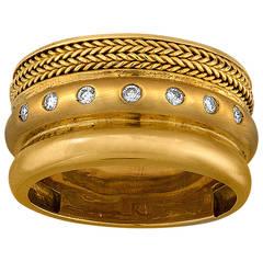 Baraka Wide Band Yellow 18 Karat Gold Ring