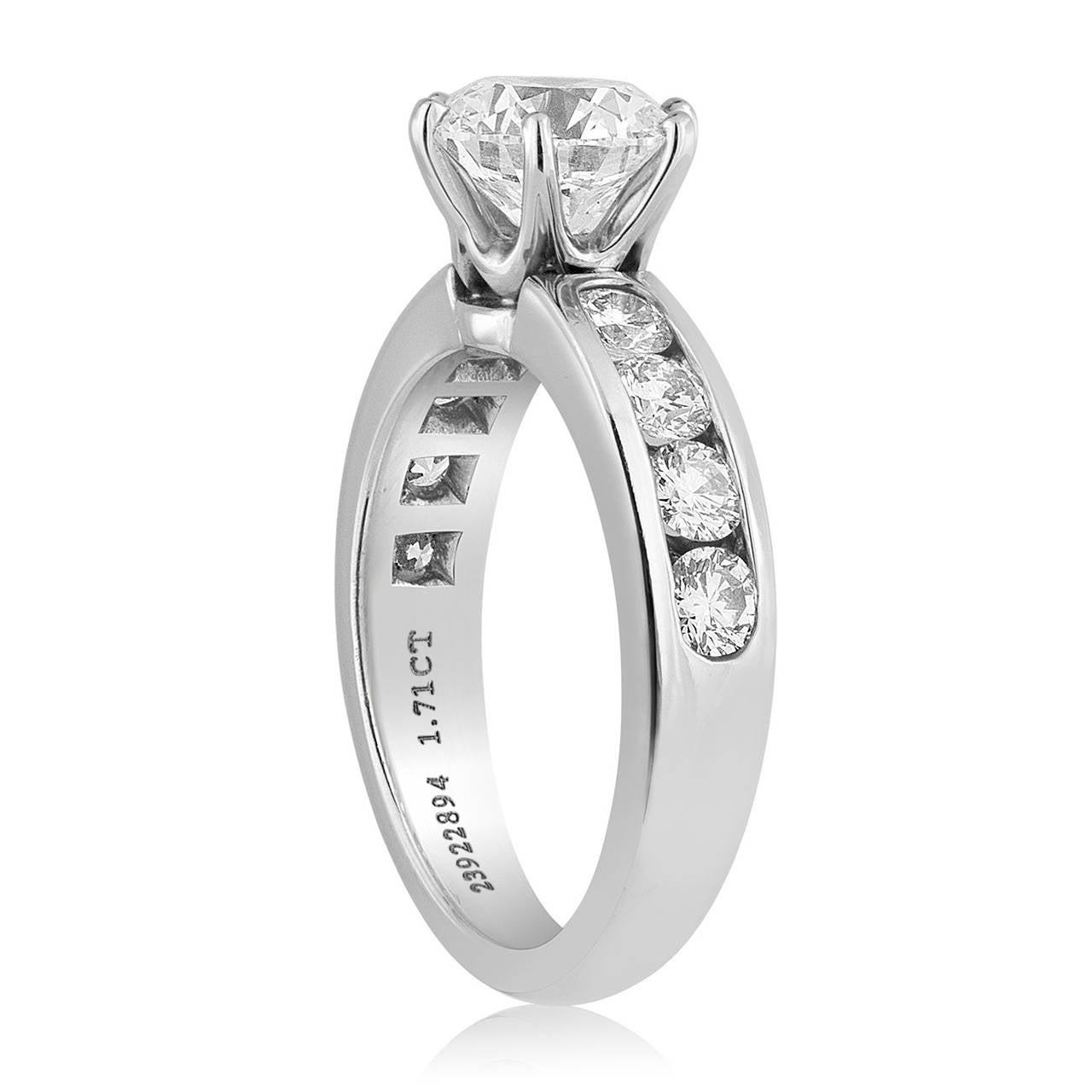 Tiffany & Co. 1.71 Carat F IF Diamond Platinum Ring 2