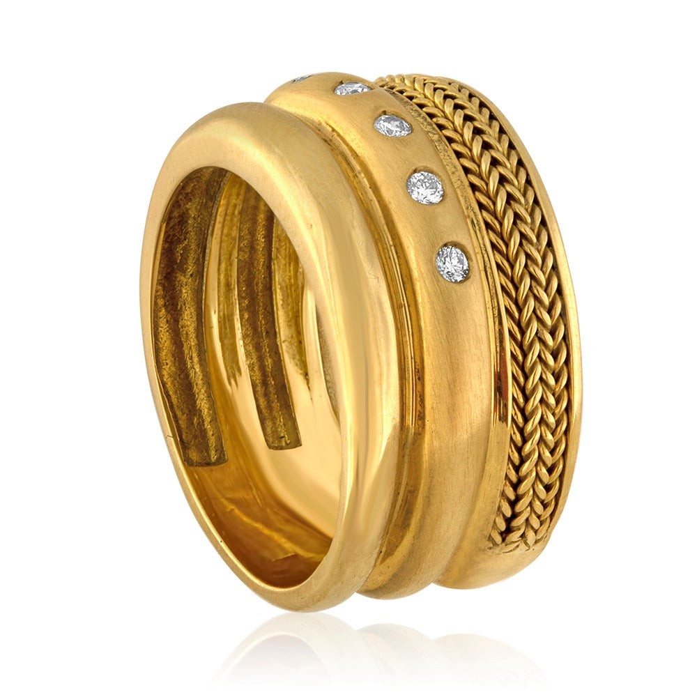 Contemporary Baraka Wide Band Yellow 18K Gold Ring For Sale