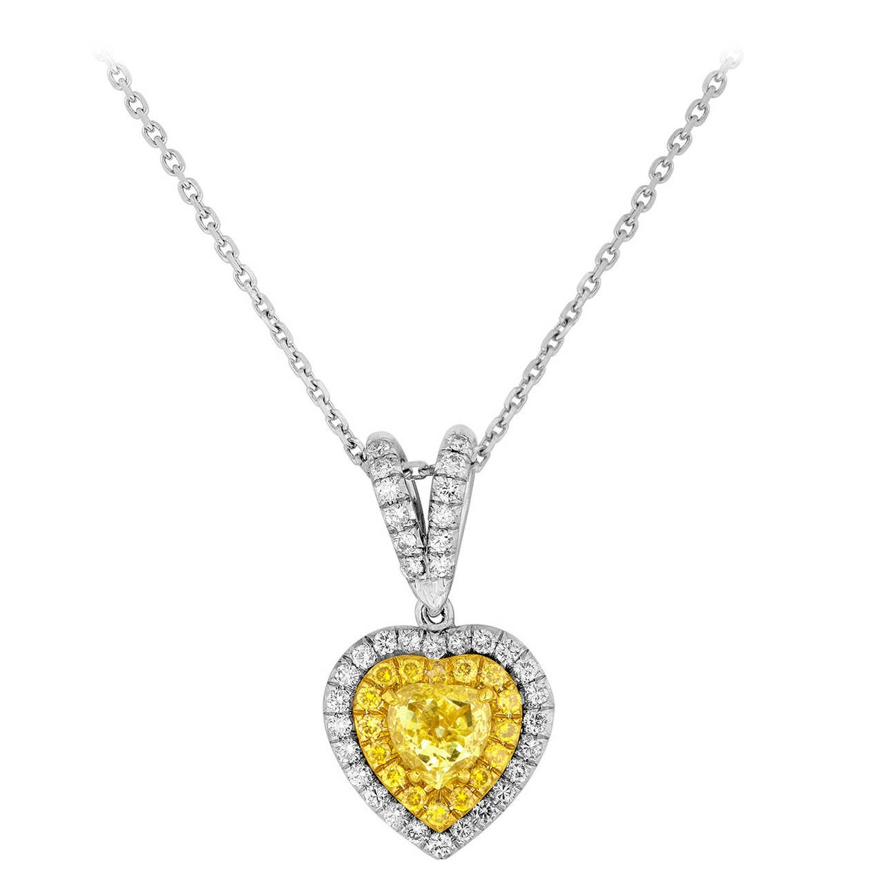 0.81 Carats Fancy Intense Yellow Heart Gold Pendant Necklace