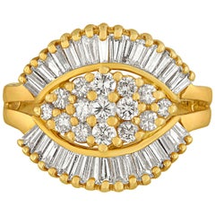 1990's 1.50 Carats Diamond Yellow Gold Ballerina Ring