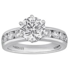 Tiffany & Co. 1.71 Carat F IF Diamond Platinum Ring