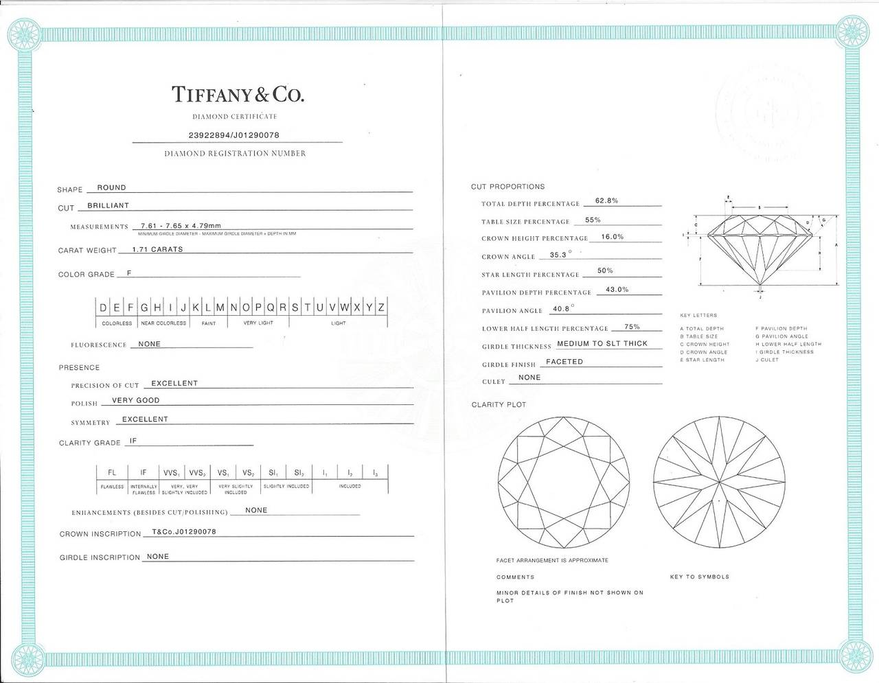 Tiffany & Co. 1.71 Carat F IF Diamond Platinum Ring 7