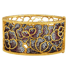 Dickson Yewn Cloisonne Collection 14.50 Carats Multi-Gem Gold Bangle