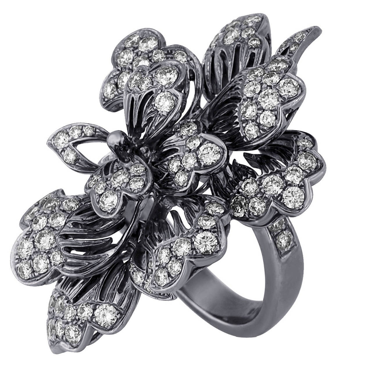 Dickson Yewn Glorious Peony Collection 2.50 Carats Diamond Gold Ring 1