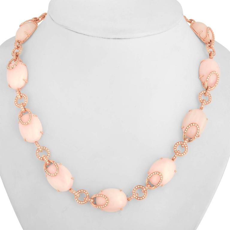 Pink Opal And Diamond Gold Necklace 2