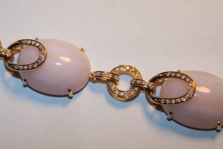 Pink Opal And Diamond Gold Necklace 6