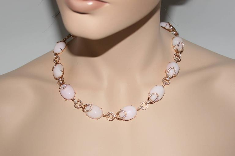 Pink Opal And Diamond Gold Necklace 4
